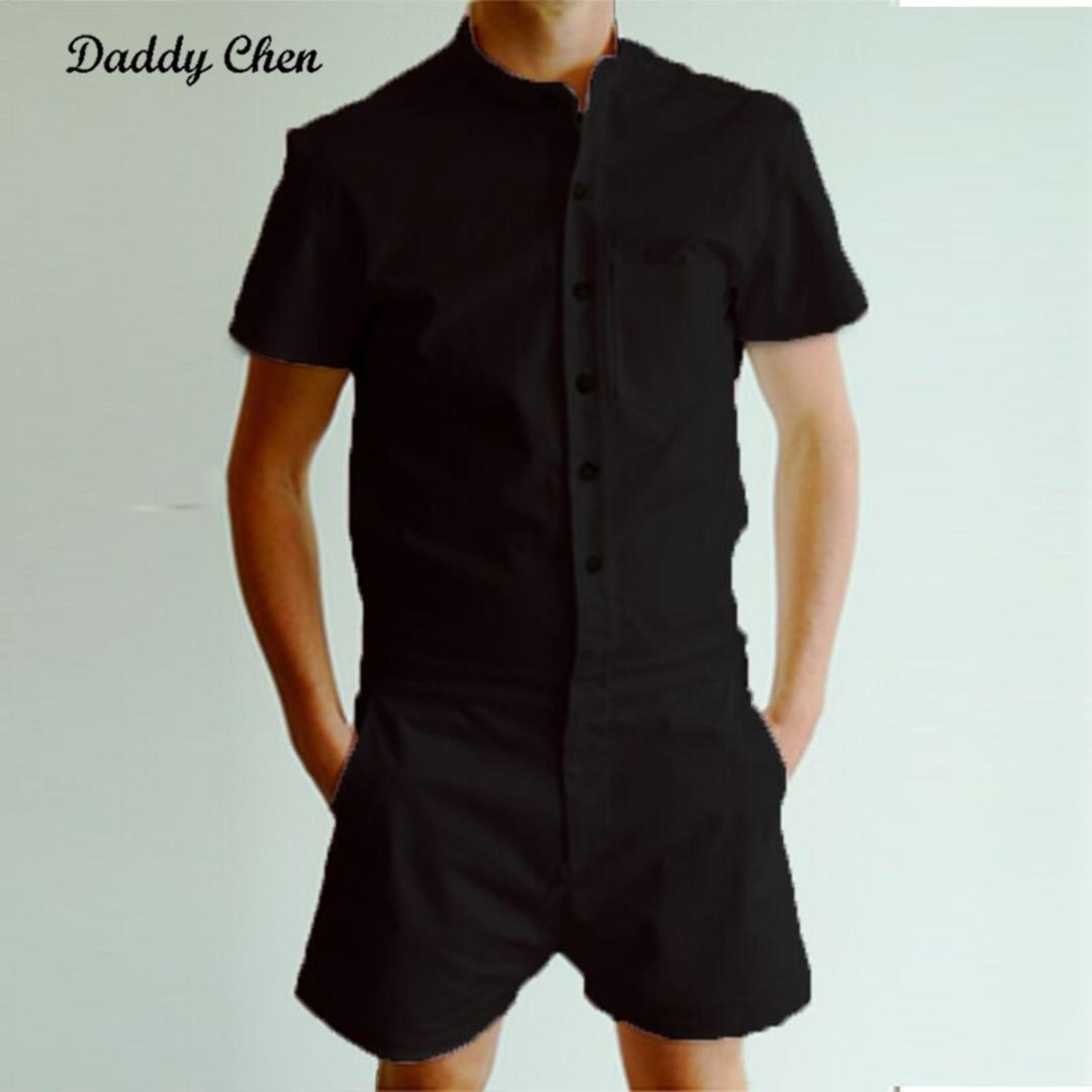 3a778b072a84 2019 Men S Short Pants Autumn Short Sleeve Men Rompers Trousers Male Single  Breasted Jumpsuit Sweatpants Cargo Overalls Work Clothing From Yuanbai