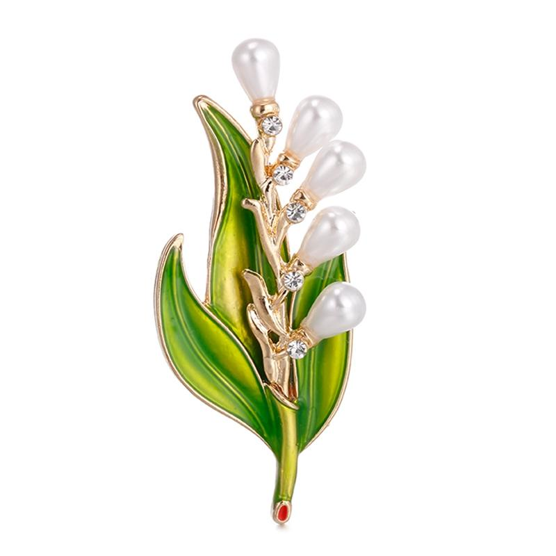 2018 Fashion Imitation Pearl Crystal Vintage Bridal Enamel Flower Leaf Brooches Pin For Scarf Buckle Clothes Accessories