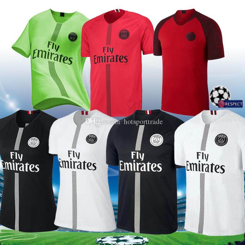 c662f6594 Compre 2018 2019 Preto Psg Camisa De Futebol Vermelho MBAPPE Maillots 18 19  Verde Paris CAVANI Saint Germain Maillot De Topos De Pé Tailândia Camisa De  ...