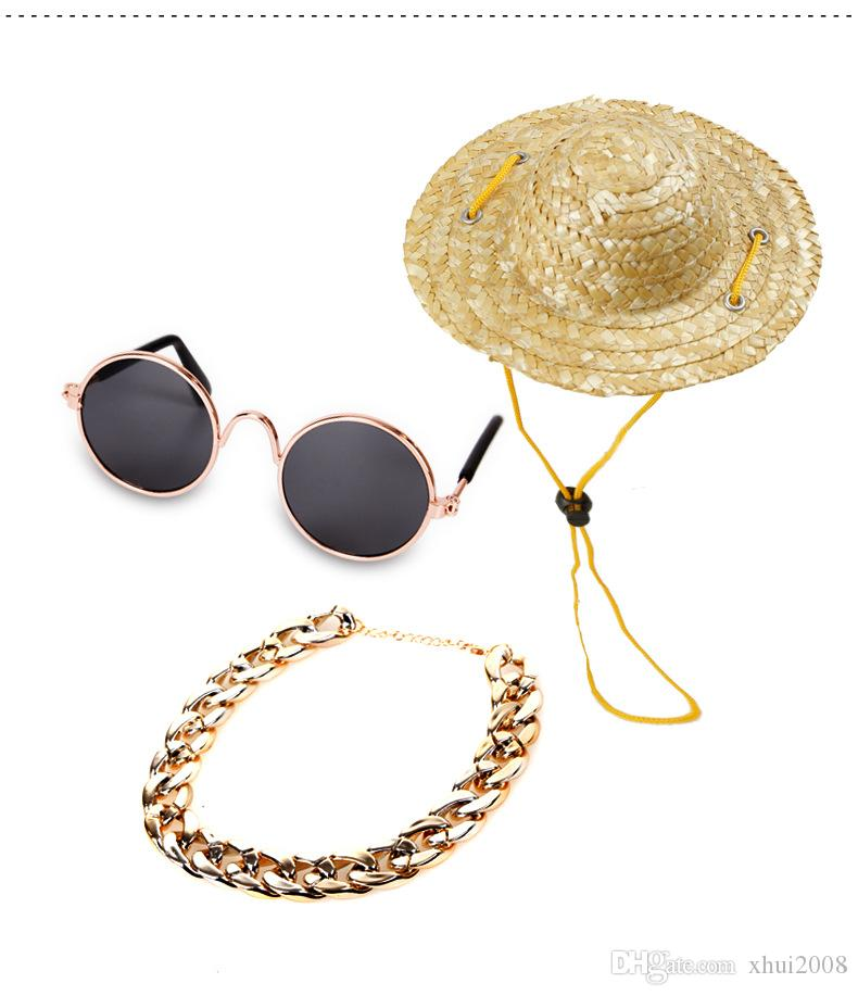 Pet Dog Cat Sunglasses Accessaries Set Necklace Collar Bows Cute Fashional straw Hat For Pet Dog Cat Grass Made Ornament Unisex