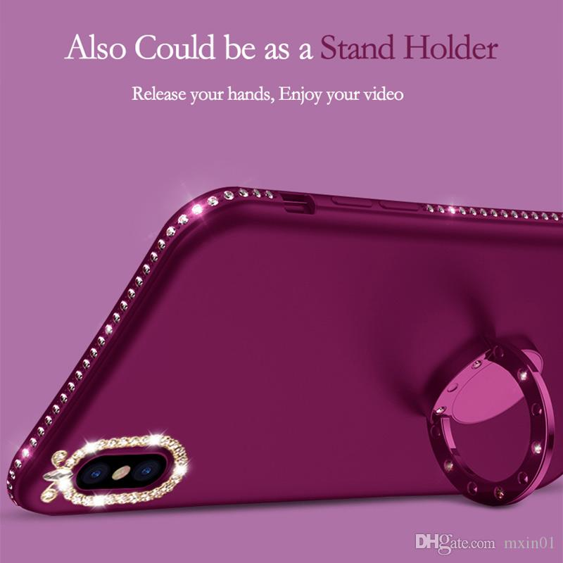Matte Glitter Camera Diamond TPU Case Magnetic Car Mount Ring Holder For iPhone x 8 7 6 Samsung S8 S9 Plus Note 9 J4 J6 A6 A8 2018 J5 J7 Pro