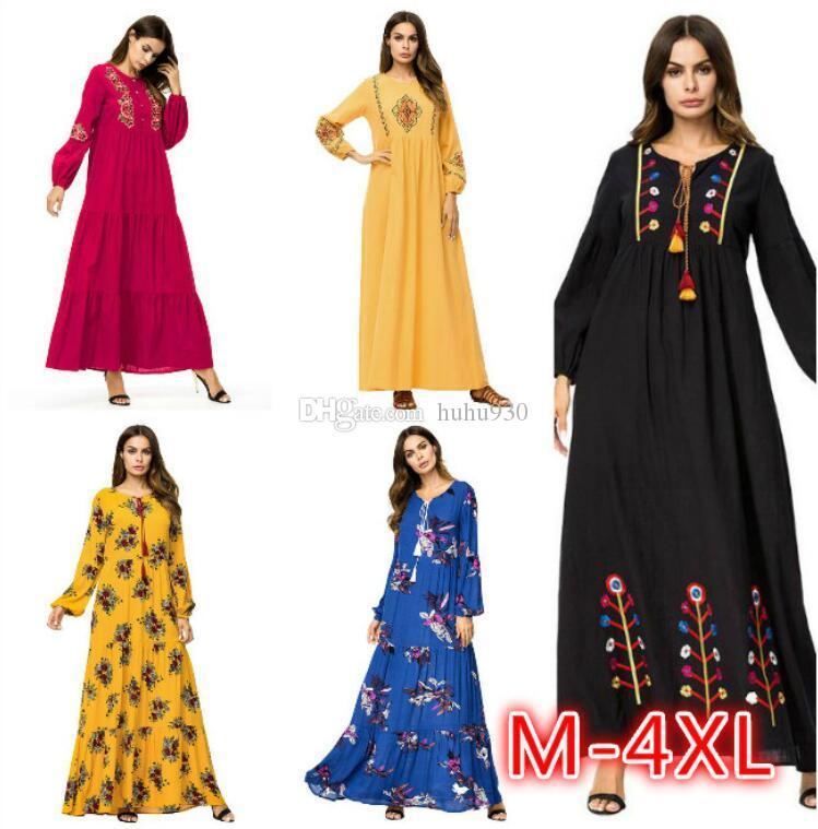 d7da1cae97462 Muslim Women Fashion Large Size Abaya Dress Ankle Length Dress Long Sleeve  Islamic Clothing Embroidery Plus Size Maxi Dress Big Size 4XL Polka Dot  Dress ...
