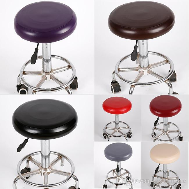 Round Elastic Pu Chair Covers Faux Leather Spandex Bar Stool Seat