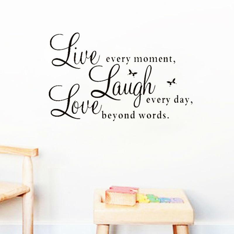 live laugh love quotes wall decals home decorations adesivo de