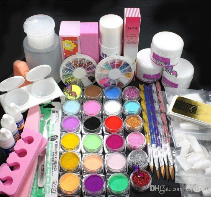 Wholesale Hot Sell Pro Full Acrylic Glitter Powder Glue French Nail