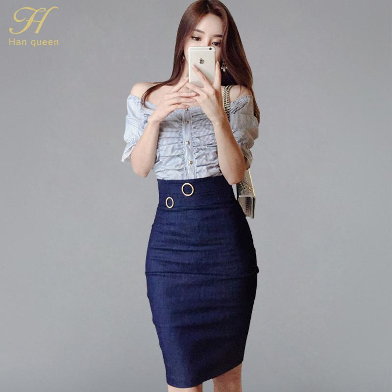 c531e783af5fbd 2019 H Han Queen Women Summer Suits Striped Slash Neck Off The Shoulder  Crop Top + Denim Jeans Sheath Pencil Skirt Sexy Set From Hermanw