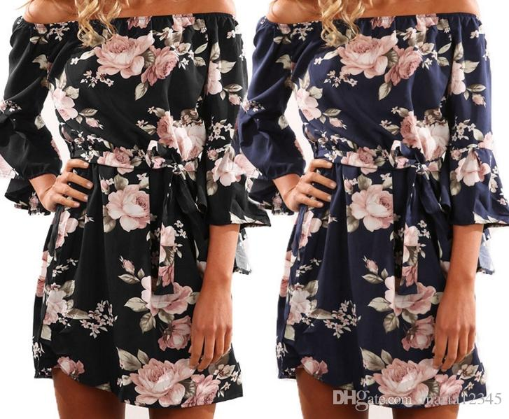 2018 New Fashion One-Shouldered Sexy Backless Print Dress Blue Black Vintage Sexy Beach Summer Womens Dresses