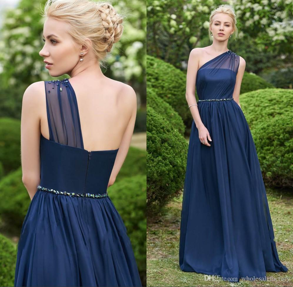 40fc16c9858 One Shoulder Chiffon Long Bridesmaid Dresses 2018 Elegant Ruched Beaded Floor  Length Wedding Guest Party Bridesmaids Of Honor Dresses Grey Bridesmaid ...