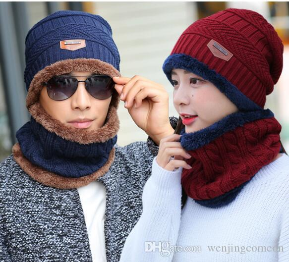cca0c366dc1 2018 Winter Hat Scarf Set Unisex Patch Beanie Acrylic Knitted Cap Ring  Scarves Fleece Thicken Warm Velvet Collar for Girls Boys Online with   7.99 Set on ...