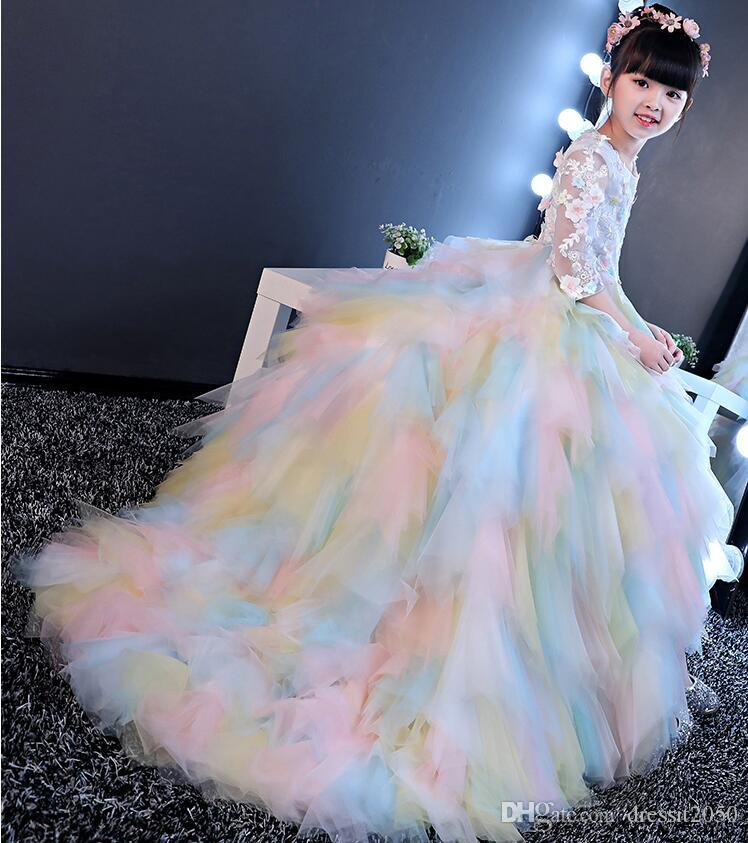 0977a335d Shining Rainbow Tulle Sleeves Flower Girl Dresses Girls  Pageant ...
