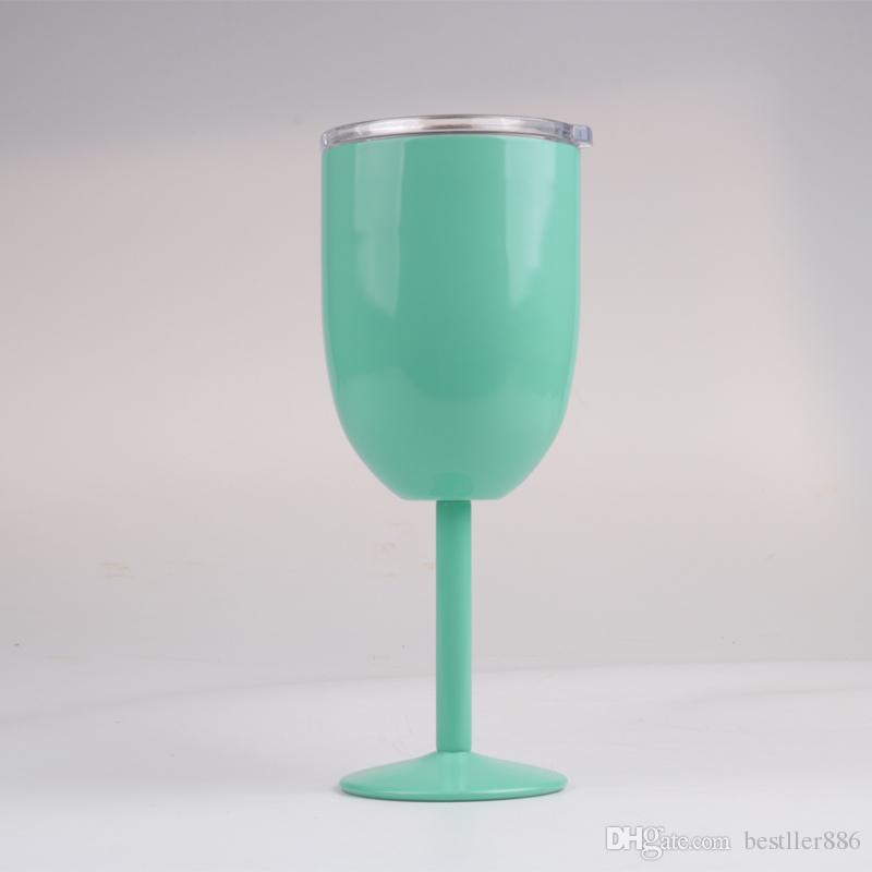DHL 10oz Wine Glasses Vacuum Stainless Steel Cocktail Glass Wine Goblet Glass with Lid for Daily Camping & Picnics Green