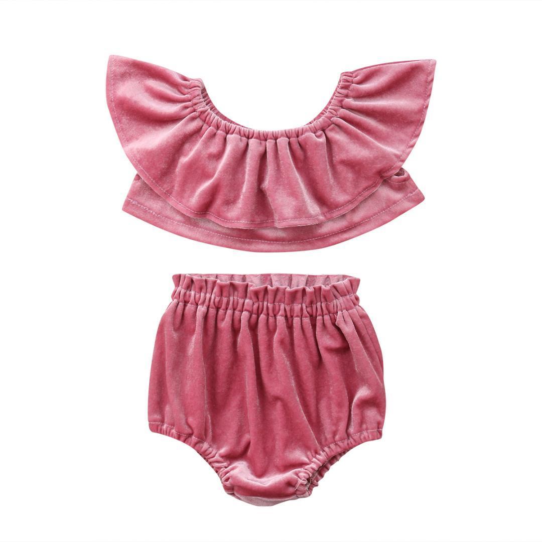 33bc0352a Satın Al 2018 Yaz Bebek Çocuk Kız Kıyafetler Bluz Yaka Kadife Pnk Tops +  Şort Pantolon Setleri Saten Tatlı Yaz Giysileri, $40.82 | DHgate.Com'da