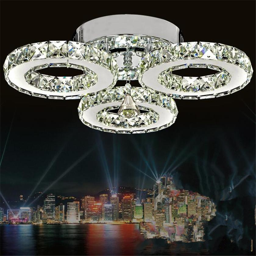 Crystal Ceiling Lamps 3 Rings Modern Led Chandelier Home Lighting For Bedroon Re Plafond Abajur