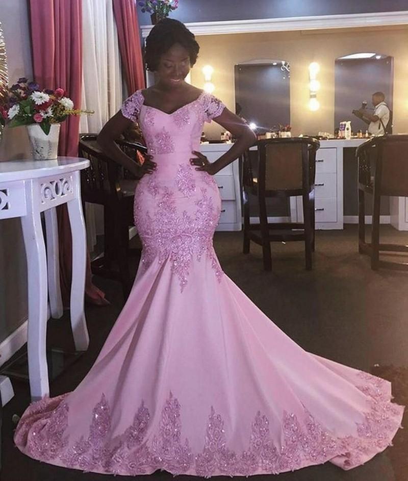 Mermaid Pink Cap Sleeve Scoop Lace Formal Evening Dresses Women\'S ...