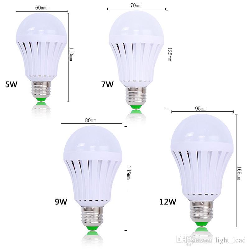 Ampoules LED d'urgence E27 AC85-265V 5W 7W 9W 12W SMD 5730 SMD 5730 Lumière de secours rechargeable à LED intelligent