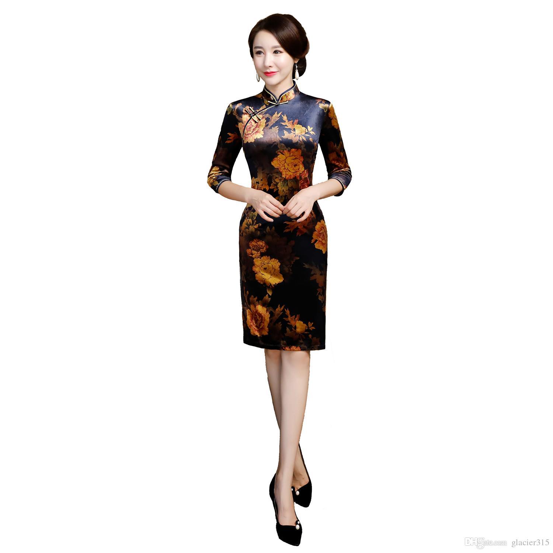37cee48ca9b Shanghai Story 2018 Autumn Knee Length 3 4 Sleeve Qipao Velvet ...