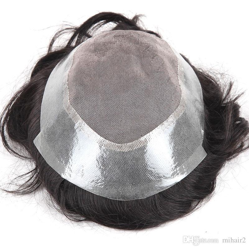 Erkek Peruk Postiş İnsan Saç Peruk Peruk Mono Baz Erkekler için Nefes Soluk Peruk Sistemi Dalgalı Tarzı 8x6 # 1