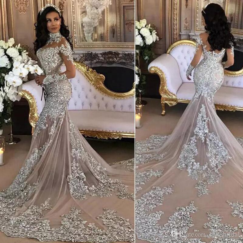 ab10991d9a6d Acquista 2018 Sexy Manica Lunga Argento Sirena Abito Da Sposa Pura Collo  Alto Applique Paillettes In Rilievo Saudita Abito Da Sposa Arabo Coperto  Bottonato ...