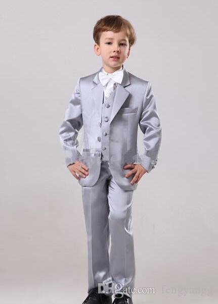7abbe01b2 New Custom Made Sliver Boy Tuxedos Notch Lapel Formal Children Clothing For  Wedding Party 5Pcs (Jacket Pants Bow Vest Shirt)