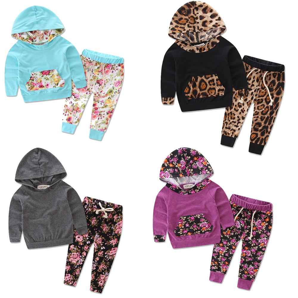 23 Style Baby Set Hooded T Shirt + Pants 5M to 3T Autumn Fashion Clothes Long Sleeve Floral Print Baby Girls Outwear Sets