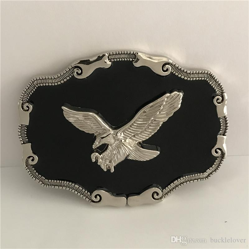 3D Silver Eagle Cowboys Belt Buckle With Metal Belt Head Woman Man Jeans Jewelry Accessories Fit 4cm Wide Belt