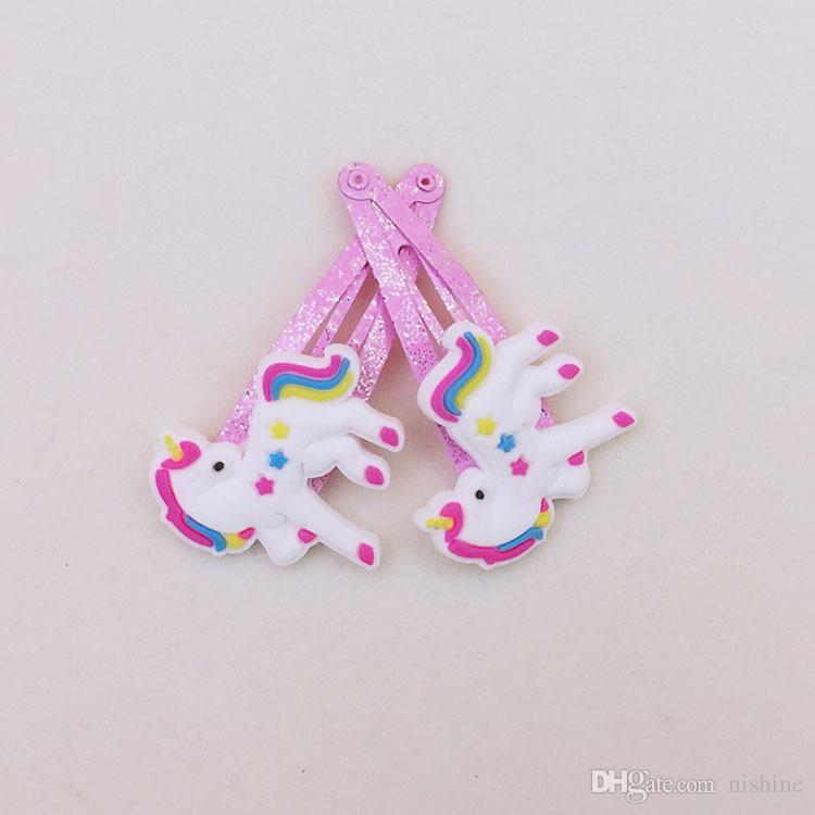 Kız Yeni / 4 Renk Glitter Unicorn gelgeller Karikatür Hayvan Saç Klipler Sevimli Plastik Tokalar Çocuklar Şapkalar Saç Aksesuarları