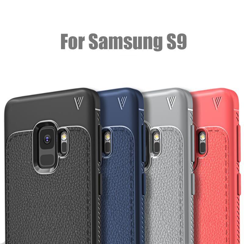 Para Galaxy Samsung S9 Plus Funda Litchi Pattern Soft TPU Robusta Cubierta protectora Cubierta trasera para iPhone X