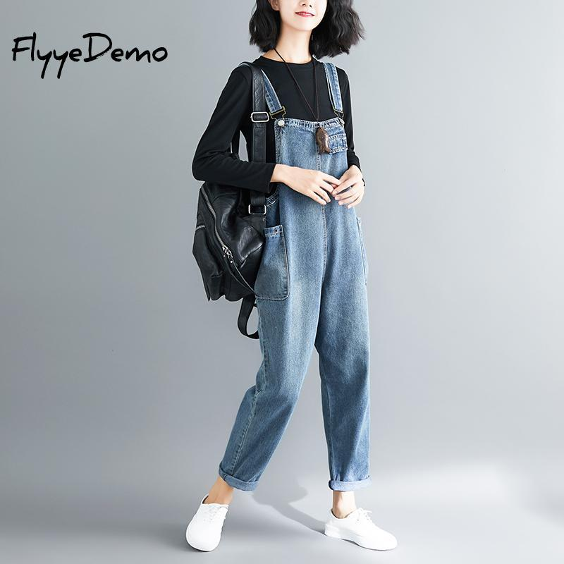 Big Size Loose Denim Jumpsuit Overalls 2018 Autumn Blue Strap Ripped Pockets Full Length Denim Jeans Jumpsuit High Quality