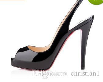 Schuhe Lackleder Toe Frauen Größe Plattform Extrem Heel Box 44 Qualität High 34 Peep Rote Top Heels Große Schwarz Mit Untere hdtsrQCx