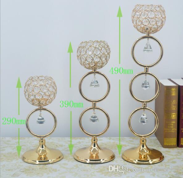 Elegante novo modelo de Centrais Do Casamento Candelabro de Cristal Castiçal de Ouro Chá Luz de Velas Titulares para Decoração de Casa 5 conjunto por lote