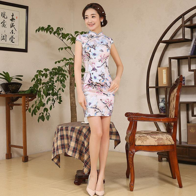 9a3535445 2019 Women Elegance Chinese Traditional Dress Short Female Chinese  Cheongsam Short Sleeve Qipao For Evening Party Mini Dress 89 From Linglon,  ...