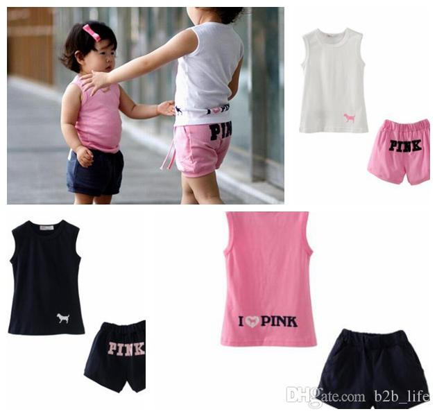 kids summer cloth suit pink letter Sleeveless Tops and Shorts Fashion Kids Suits Sports Outdoor Suit Baby Girl Clothes KKA4999