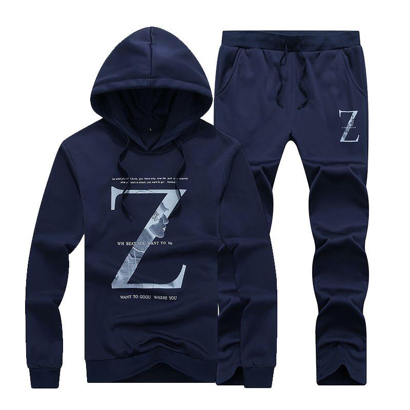 Myazhou Herbst Pullover Sportsets, Liebhaber Mode Komfortable Marken große Größe Herren Briefe gedruckt Kapuzen Sportanzüge Männer