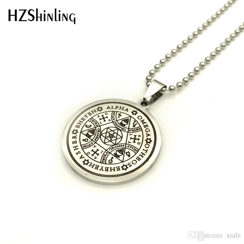 New Stainless Steel Jewelry Sigil Magic Wicca Pendant Seals Of The Seven Archangels Necklace Wiccas Pendants Silver SS-007