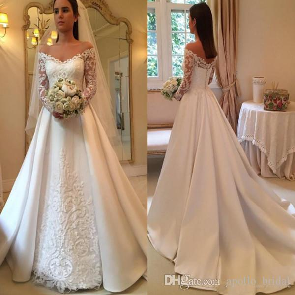 Discount 2019 Country Wedding Dresses A Line Off Shoulder Long Sleeve Sweep  Train Bridal Gowns With Lace Applique Satin Plus Size Wedding Gowns  Princess ... a78cf03e4e8d