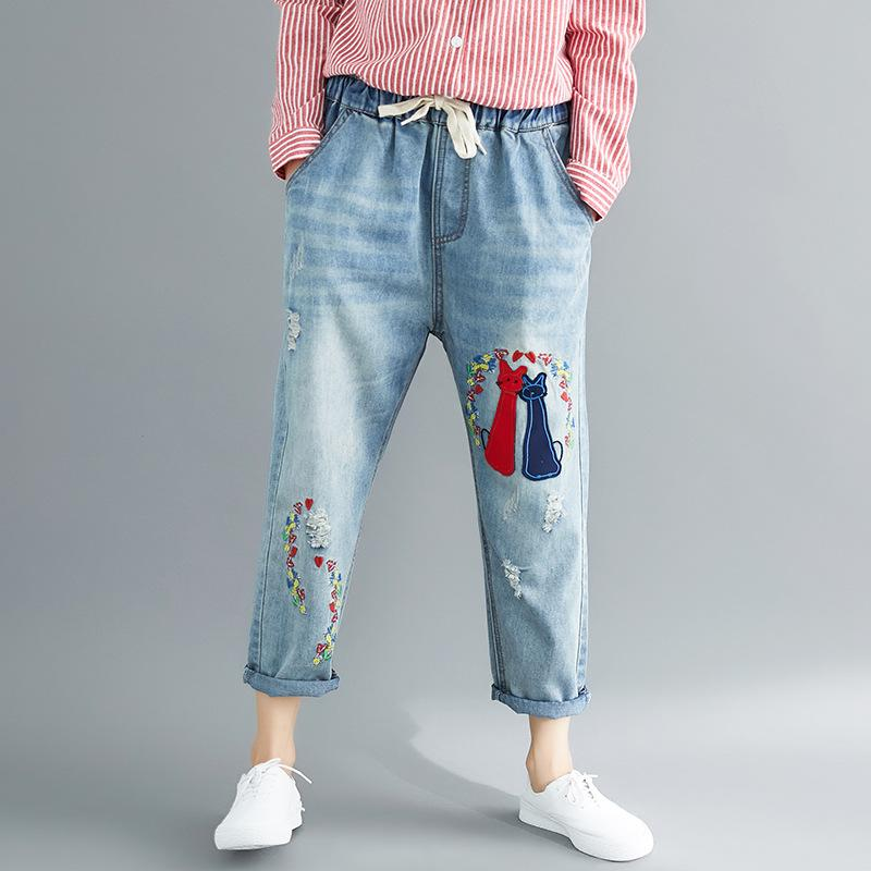 6f213c134c4 2019 Retro Loose Mom Jeans High Waisted Ripped Harem Jeans For Women Cat  Cartton Embroidered Juniors Long Elastic Waist Denim From Qingchung