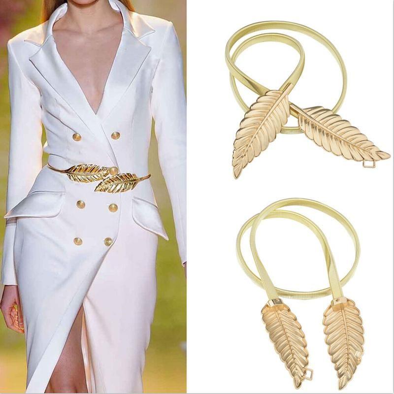 Frauen Blatt Design Gürtel Metall Blätter Cummerbund Verschluss vorne Stretch Bund Gold Silber elastischen Gürtel Blätter Kette Gürtel