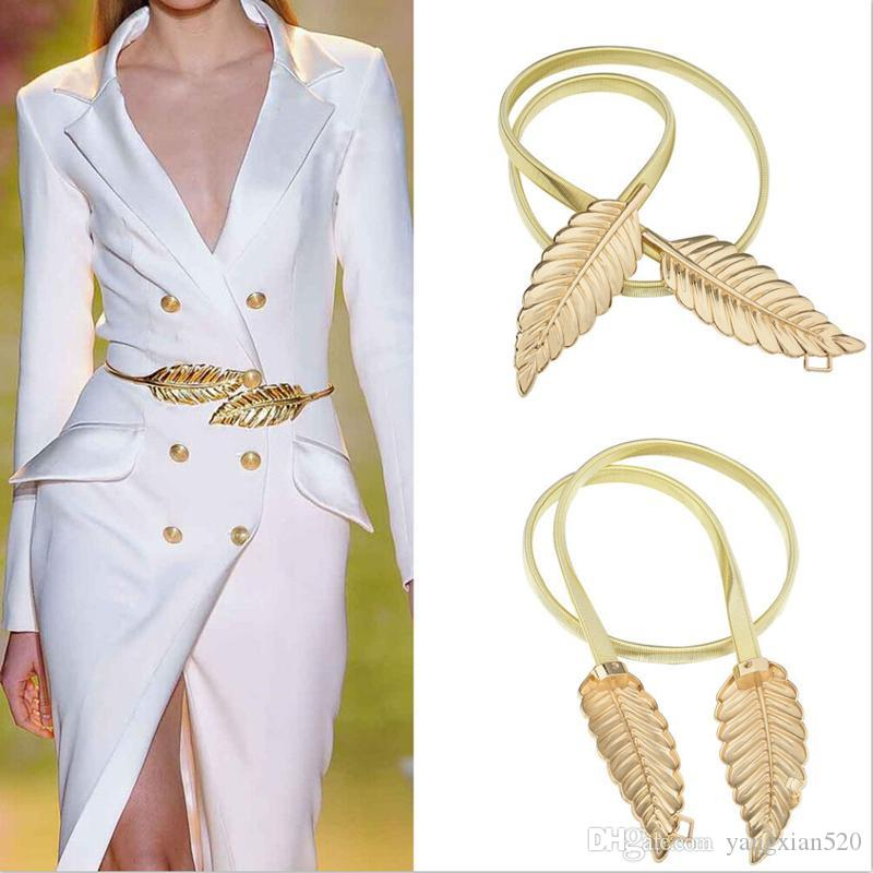 Women Leaf Design Belt Metal Leaves Cummerbund Clasp Front Stretch Waistband Gold Silver elastic Waist Belt Leaves Chain Belt