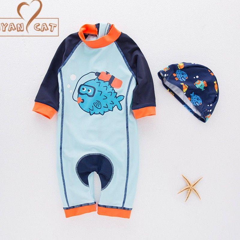 059396729c86 2019 Nyan Cat Baby Boy Fish Swimwear+Hat Set Swimming Suit Toddler Kids  Children Swimwear Diving Clothing Costume Beach Wear From Newyearable