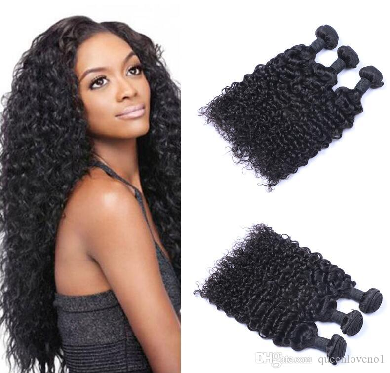 Peruvian Jerry Curly Virgin Hair Weave Remy Human Hair Extensions