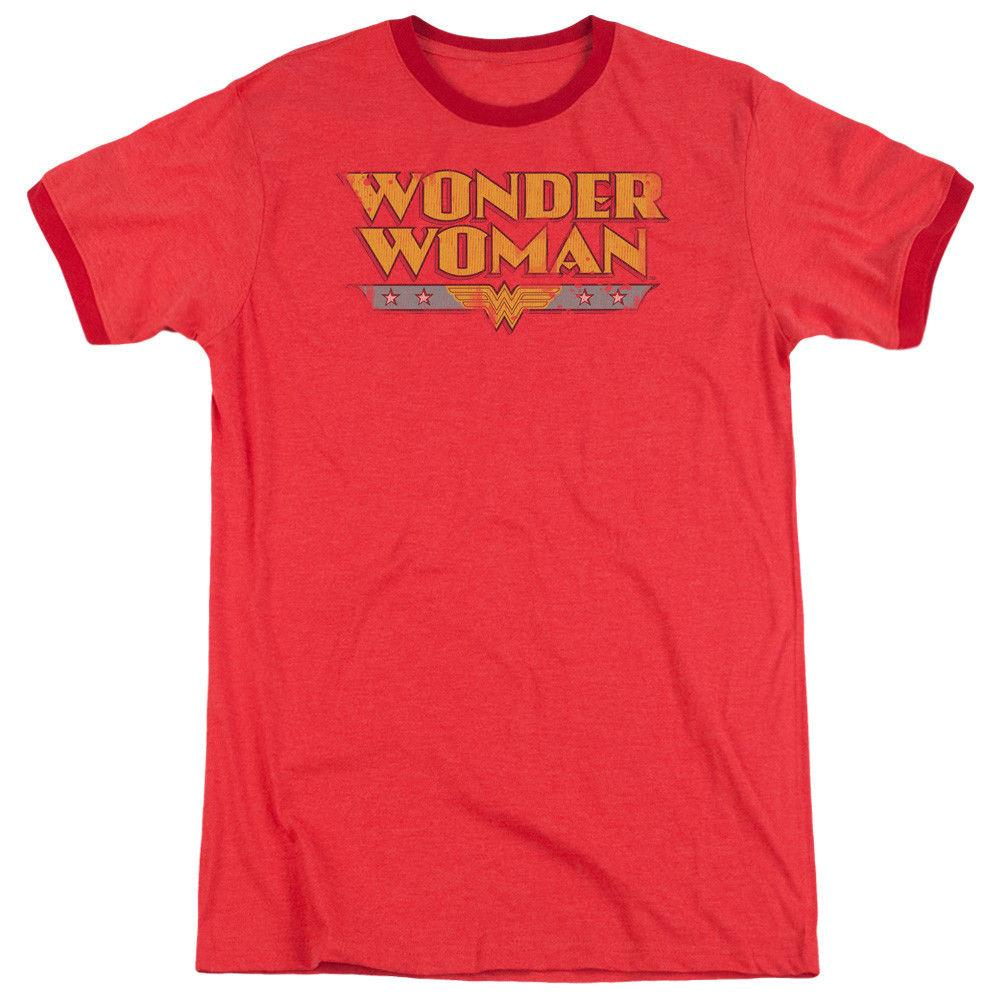 1fcd6ad42d2 Wonder Woman Logo DC Comics Adult Ringer T Shirt Funny Unisex Casual Tee  Gift Awesome T Shirt Sites Tees Designs From Fat_dad, $12.96| DHgate.Com