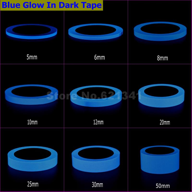 Blue Glow In Dark Wall Sticker Luminous Photoluminescent Self-adhesive Tape Stage Home Decoration 6~8h Glow 5mm ~ 50mm