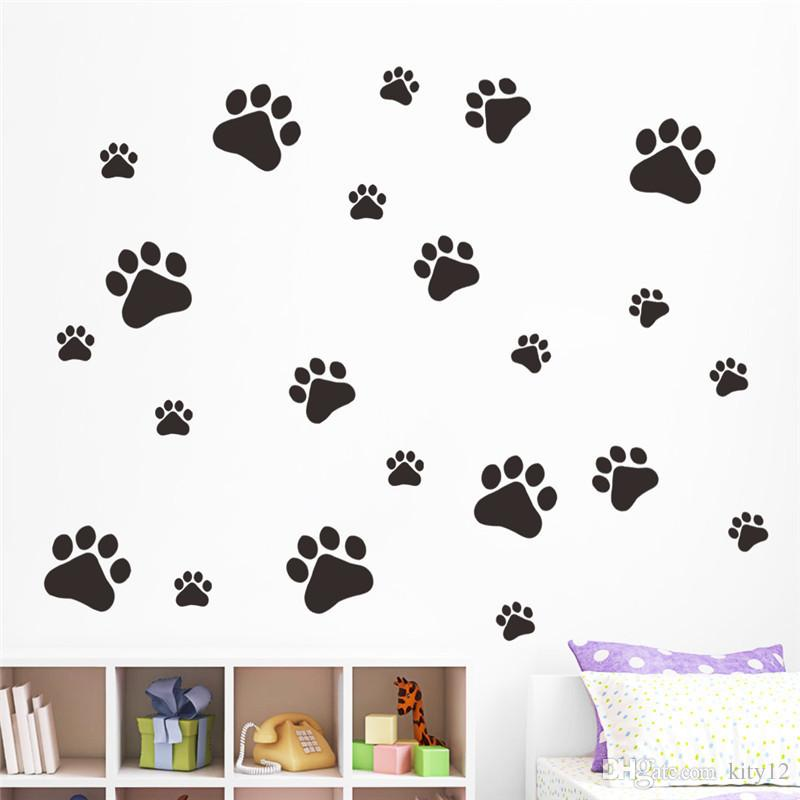 Wholesale Funny Dog Cat Paw Print poster for kids room home decal Wall Stickers DIY cabinet door Food Dish Kitchen Bowl Car decor