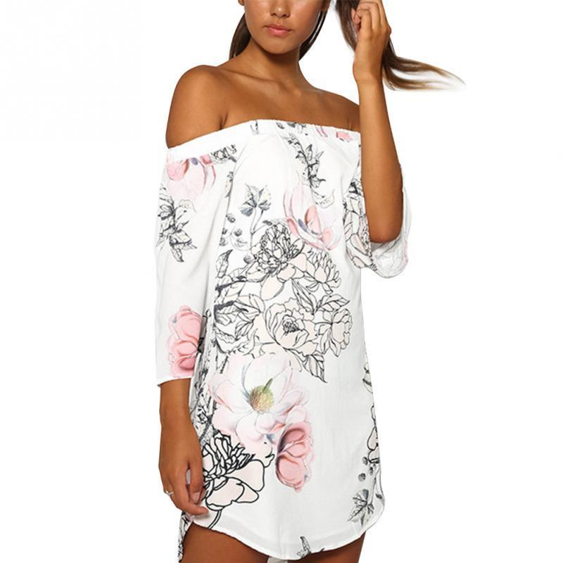 78e71dc1362 Summer Casual Clothing Women White Floral Print Three Quarter Sleeve Slash  Neck Off Shoulder Sexy Party Beach Dresses Sundresses Womens Dressing  Styles For ...
