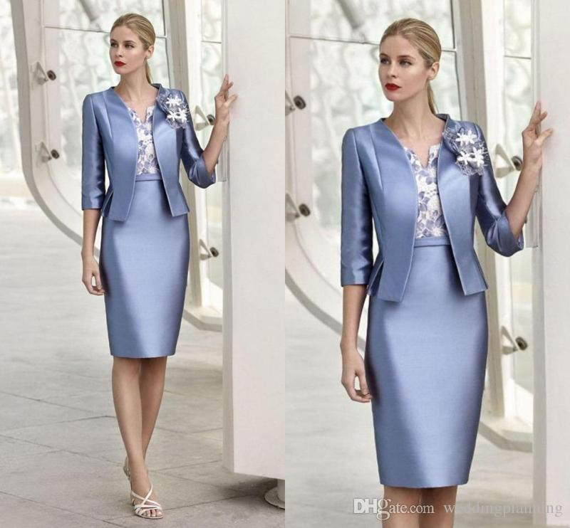 2018 New Elegant 3D Appliqued Mother Of The Bride Dresses With Jacket Knee Length Custom Made Mother Dress Free Shipping