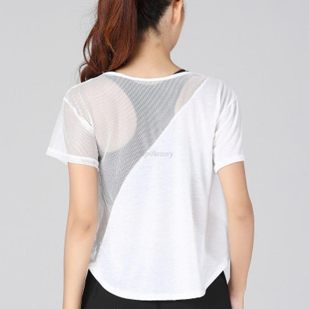 e4d0cfb7b 2019 Mesh Fitness Clothe Running Activewear Dry Quick Tops Translucent Breathable  Yoga Shirt Sport Shirts Short Sleeve Womens From Brandun, $21.47 | DHgate.