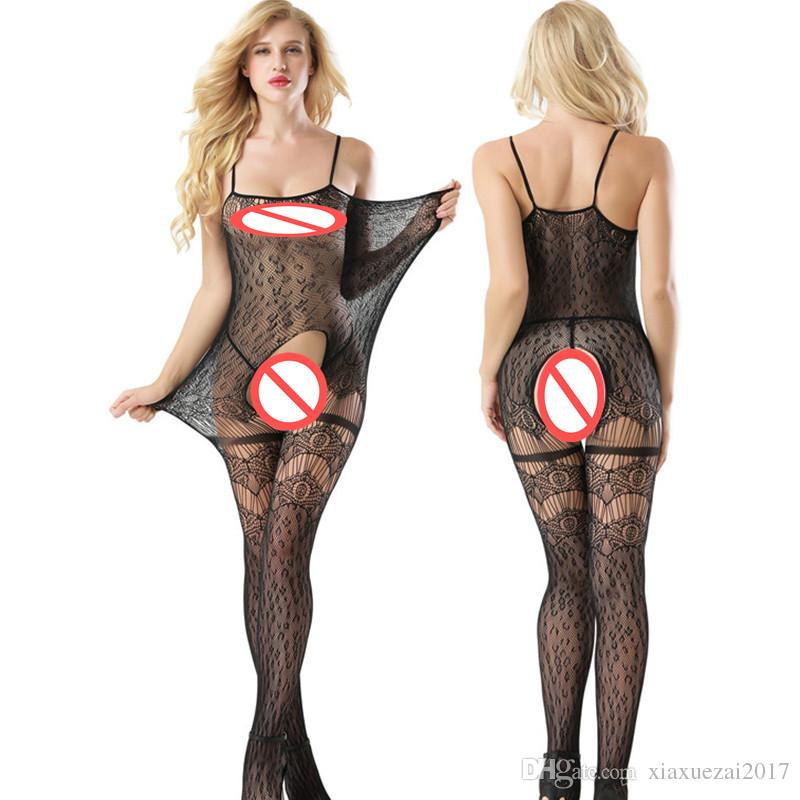 dc18b8b2c8c9f 2019 Sexy Lingerie Transparent Fishnet Catsuit Open Crotch Costumes Body  Suit Babydoll Lady Hollow Out Dress Underwear Sleepwear Chemise Jumpsuit  From ...