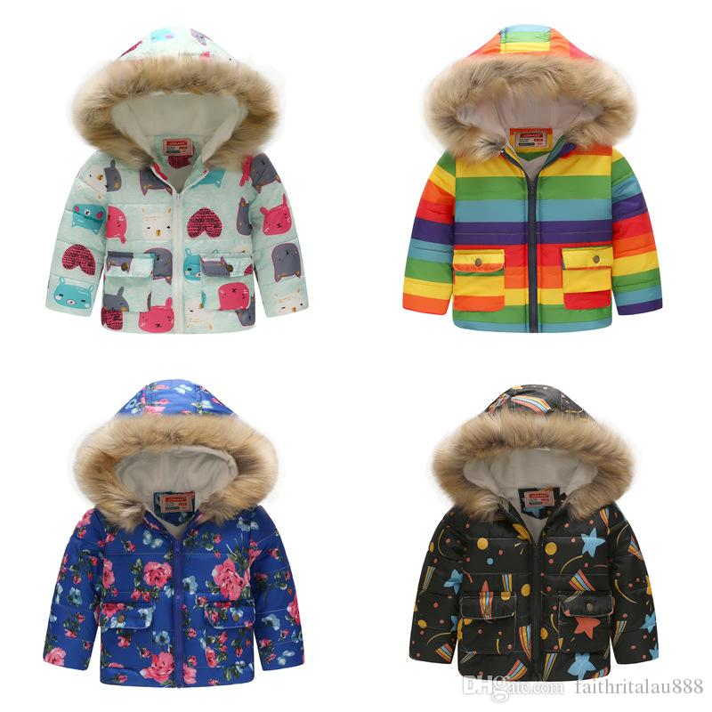 22bf77aa32e Wholesalers 2 7 Years Boys Girls Winter Cotton Padded Coats Jacket Printed  Hooded Windproof Thick Warm Outerwear Kids Clothes Baby Girl Down Jacket  Girls In ...