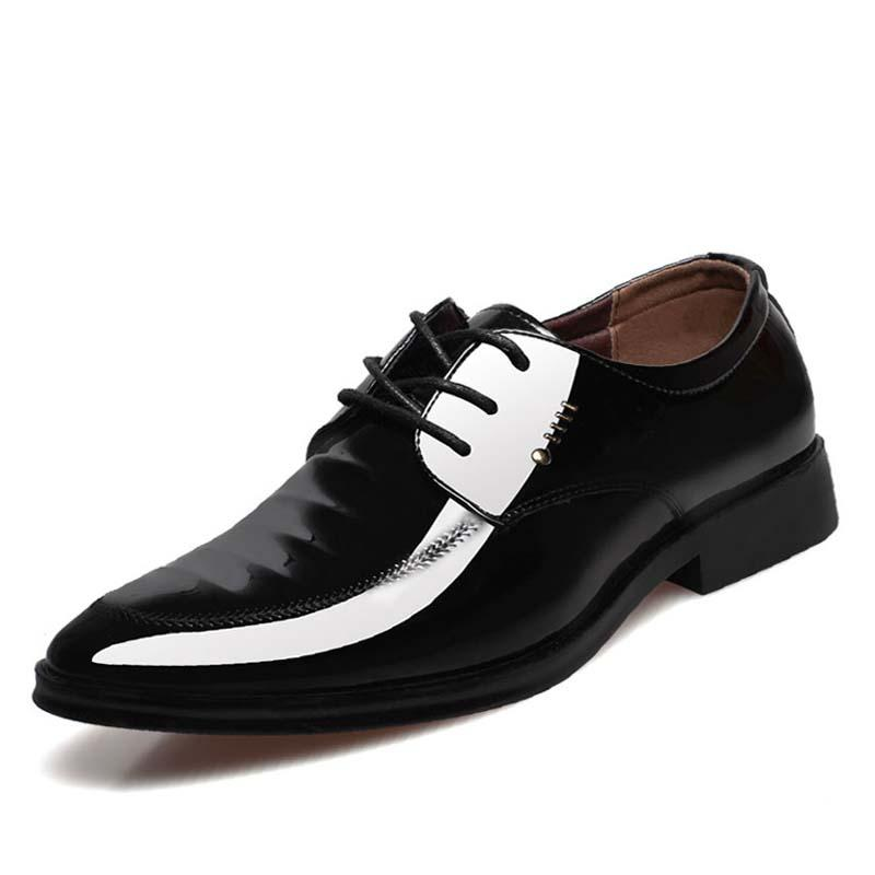 Men Dress Shoes Sliop On Man Business Flat Oxfords Shoes Shiny Black