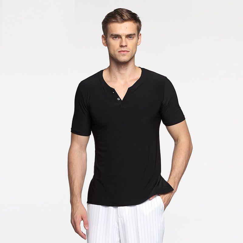 ef92583aae02 male short sleeves modern dance costumes men's adult training costume  standard dance shirt ballroom shirt practice